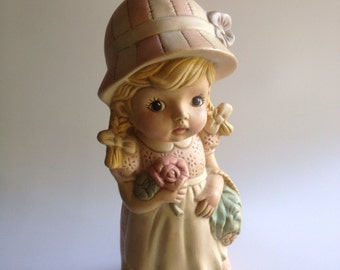 Vintage 1970s Large Holly Hobbie style Ceramic Collectible handmade