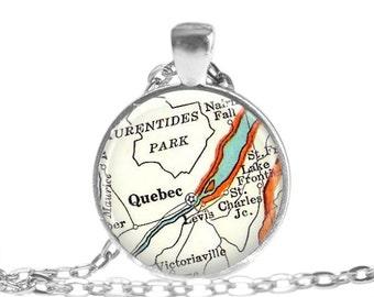 Quebec Canada necklace pendant charm, Canada map charms, Quebec map necklace, Canadian necklace, godmother gift, A146