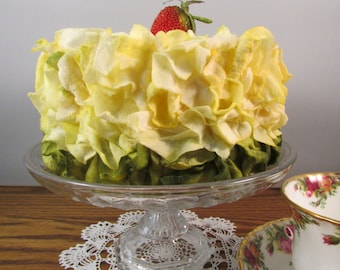 Bridal Shower Cake Fake Cake Yellow Cake with Yellow and Green Faux Flower Petals Display Cake Photo Prop Birthday Party Cake