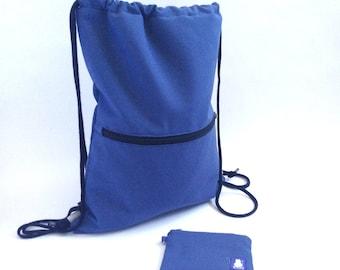 Mochila, mochila saco, mochila joven, regalo joven, azul, regalo chico, azul marino, bolsa playa, bolsa gimnasio, monedero, cordón, hombre