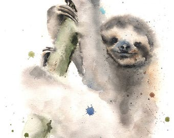 SLOTH ART PRINT - sloth print, watercolor sloth painting, sloth decor, sloth wall art, sloth lover gift, animal print, sloth artwork