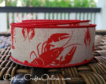 "Wired Ribbon, 1-1/2"" Red Crawfish on Tan Faux Linen - TEN YARD ROLL -  ""Gumbo"" Summer, Americana, Louisiana Wire Edged Ribbon"