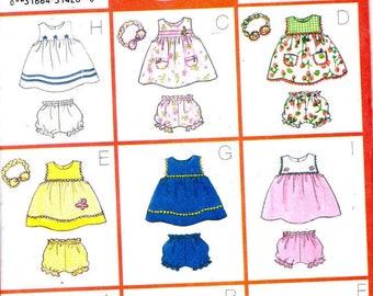 Sewing Pattern - Butterick 6556 - 9 Sew Easy Infant Dress,  Panties & Headband - Sizes NB - XL