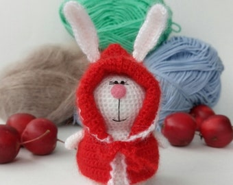 Knitted Bunny Hare of yarn Bunny amigurumi Rabbit wool Bunny handmade White rabbit Cute Bunny Bunny toy Handmade toys