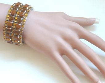 Antique Diamond Bracelet Rhinestone Bracelet Wide Diamond Bracelet Expandable Bracelet Wide Rhinestone Bracelet Yellow Bracelet VinaDesign