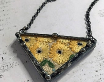 Triangle Pendant, Soldered Geometric Neclace, Vintage Embroidery Linen, Recycled, Soldered Art Charm, Glass Shadow Box Pendant, Artisan made