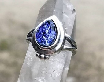 NEW Tear Drop Cremation Jewelry Sterling Silver Ring Ashes InFused Glass Memorial Urn Pet 6, 7, 8