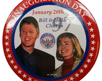 1997 Bill Clinton & Hillary Clinton Original Inauguration Day Button