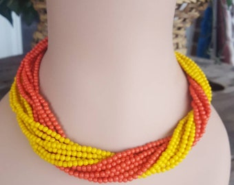 Vintage Multistrand Necklace / Twist Bead Necklace / Orange Beaded Necklace / Yellow Beaded Necklace