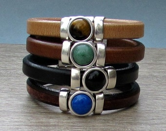 Gemstone Mens Leather Bracelet Mens Silver Bracelet Mens  Gemstone Bracelet customized to your wrist