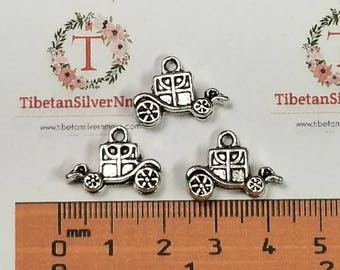6 pcs per pack 19x13x5mm 3D Carriage Charm Antique Silver lead free Pewter
