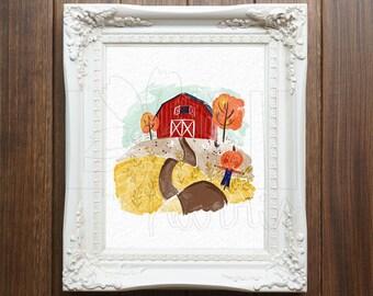 Wall Art Printable, Instant Download File, Farm Scene, 8x10 home decor print