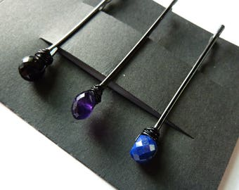 Gemstone Trio Bobby Pin Pack - Black Spinel, Amethyst, Lapis