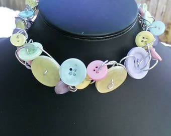 Pastel Coloured Button & Wire Upcycled Statement Choker Reduced to Clear - Sale!