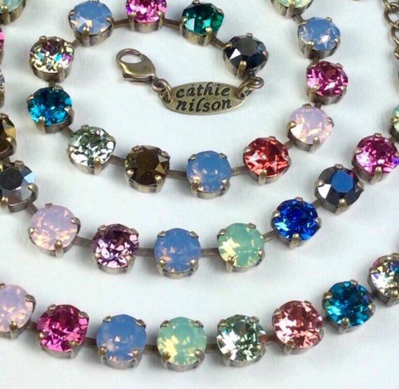"""Swarovski Crystal 8.5mm Necklace - Beautiful Multi- Color  """"Crazy Quilt""""   Stained Glass Window Colors -  Designer Inspired - FREE SHIPPING"""