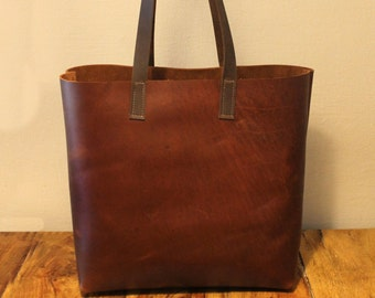 Sale!!! Vintage brown leather tote bag large leather hanbag leather Handmade bag, Carry all with LOVE!!!!