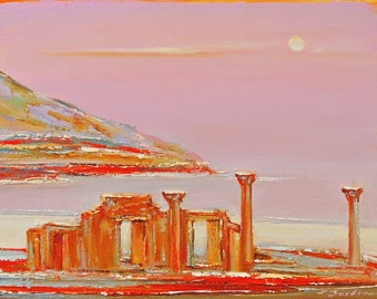 Original Oil painting Landscape painting Chersonese Seascape painting Sea water painting Wall art pink  Love Contemporary art Moon