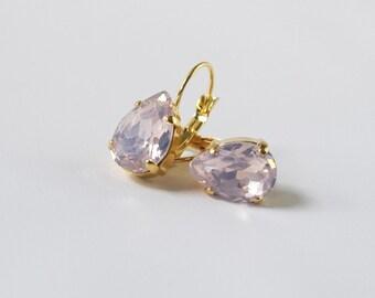 Pink Opal Rhinestone Earrings, Pink Wedding Earrings, Pink Crystal Regency, Light Pink Georgian Paste, 18th 19th Century, Marie Antoinette