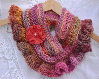 Pinkish Cowl Scarf and Flower Pin