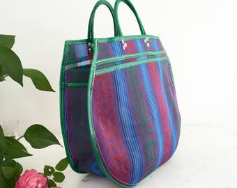 L - purple/Green Butterfly tote bag