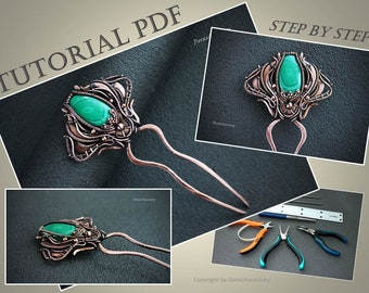 Wire wrap tutorial hair pin PDF Wire tutorial Wire weave tutorial Jewelry tutorial Wire lesson Wire comb DIY Wire hairpin PDF DorasAccessory