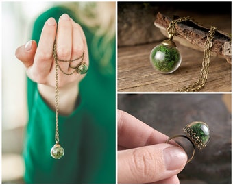 Real moss jewelry, gift for women, birthday gift for her, terrarium jewelry, moss necklace, green necklace, moss ring, green ring