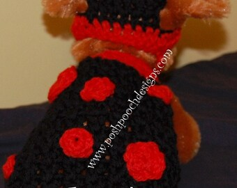 Instant Download Crochet Pattern Bundle- Lady Bug Dog Costume - Dog Sweater and hat set 2-20 lbs