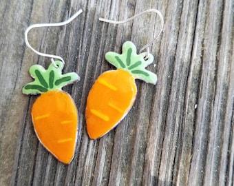 Torch fired enamel carrots earrings
