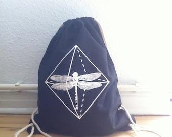 drawstring backpack - dragonfly - gym bag - Cotton string bag - drawstring bag - cotton gym bag - screen printed gym bag - Black gym bag