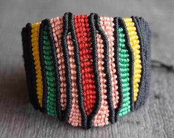 Boho Bracelet/Macrame Cuff Colorful Bracelet/ Modern Hippie/Knotted/Spring Bracelet