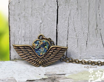 Faux Druzy Necklace, Winged Glitter Heart, Antiqued Brass Chain, Bohemian Valentine