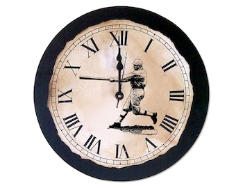 "Vintage Country Style Clock with Baseball Player, 12"" x 12"""