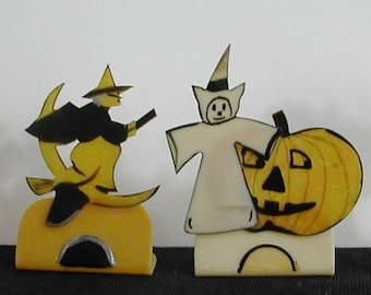 Bakelite Halloween Party Name Card Holders Witch Riding Broom with a Crescent Moon Pumpkins Ghost 4