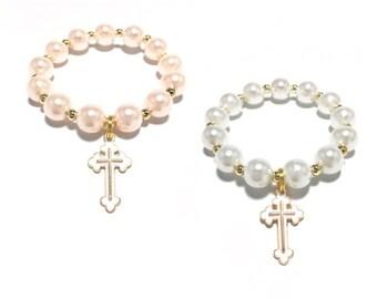 Toddler or Girls Small Beaded Cross Charm Bracelet - Girls Baptism Bracelet - First Communion Bracelet - White and Gold Pearl Bracelet