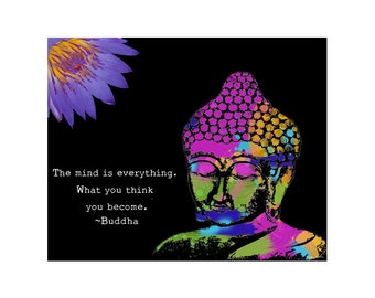 Buddha Art Print - Inspirational Art Painting - Mixed Media Collage - Colorful Art
