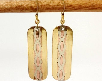 Linear Geometric Copper Dangle Bar Mixed Metal Earrings, Copper and Silver-Alloy Rectangles on earwire with loop, bead and coil