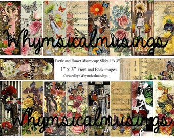 Digital Collage Sheet~ Fairy and Flower Microscope Slides~ DIY~ Jewelry