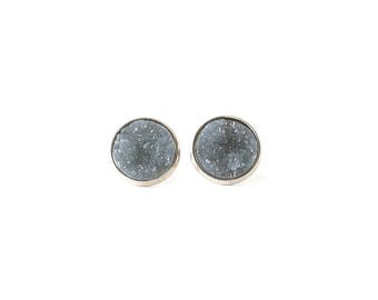 Gray Earrings Druzy Stud Earrings Grey Earrings Gray Druzy Earrings Silver Stud Earrings Light Gray Studs Gray Stud Earring Bridesmaid Gift