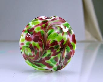 Cranberry and Green Lampwork Focal Bead SRA Glass Beads