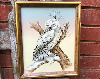 Small Snowy White Owl Painting Wall Art Winter Scene Original Art