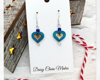 Blue Heart Earrings - Pink Heart Earrings - Mint Green Heart Earrings - Czech Glass - Handmade - Christmas Earrings - Ready To Post
