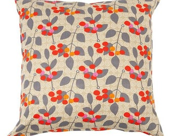Pillow cover beige brown grey orange wild Berries Botanical Decorative pillow for Throw pillows Floor Cushions Accent Pillows