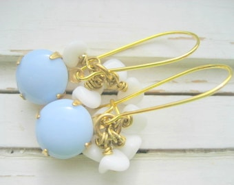 Snowbells, dangle earrings, vintage glass beaded earrings, winter fashion earrings