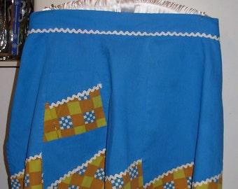 Apron Blue, Mustard, Rust Apron Retro, Kitschy, Pin Up True Vintage REDUCED PRICE