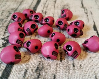 16+ pcs  Pink Skull Beads,Halloween Skull, Gothic Skull, Top Hole Beads