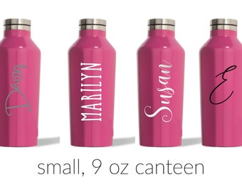 Gloss Pink Small Corkcicle Canteen with Decal - 9 oz. -  Water Tumbler, Flower Girl, Kids Gift, Small Water bottle, Mothers Day
