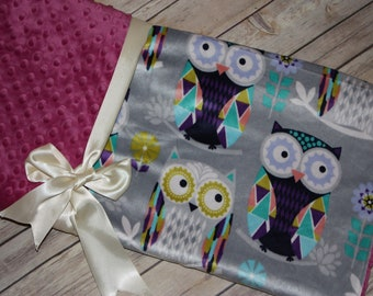 Ready to Ship- Minky Blanket - Owls - Silver and Raspberry- 29x47- Stroller / Crib blanket