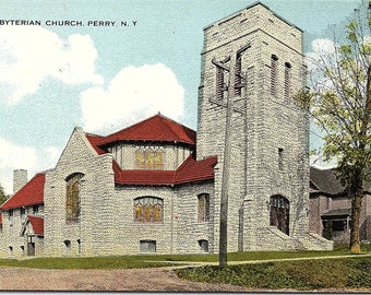 Perry, New York, Presbyterian Church - Postcard - Vintage Postcard - Unused (GG)