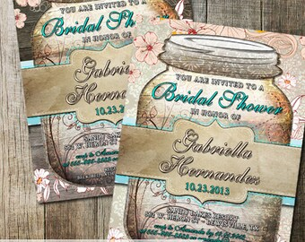 Rustic Mason Jar Bridal Shower Invitation Mason Jar Invite Rustic Bridal Shower Wood Background DIY Printable Rustic Mason Jar Invitation