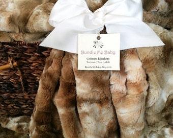Faux Fur Blanket Rabbit Taupe Brown Adult Minky Throw Blanket - Christmas GIFT Adult Teen Tween EXTRA LARGE Ivory Beige Brown Bedding